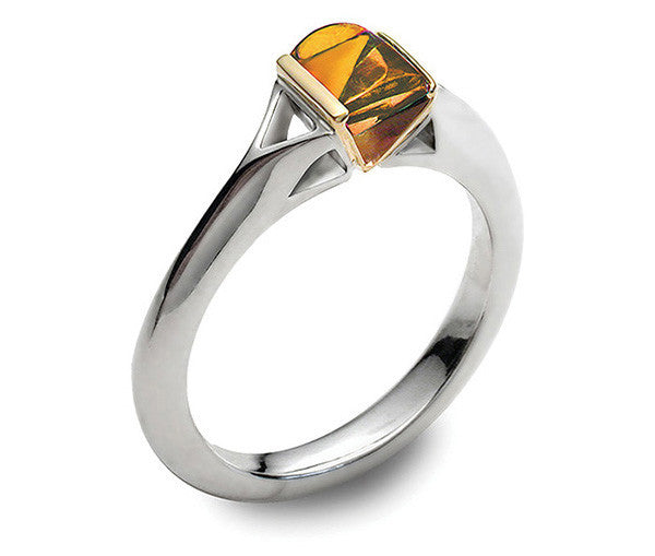 Accent Contour Ring With 9ct Gold - Citrine