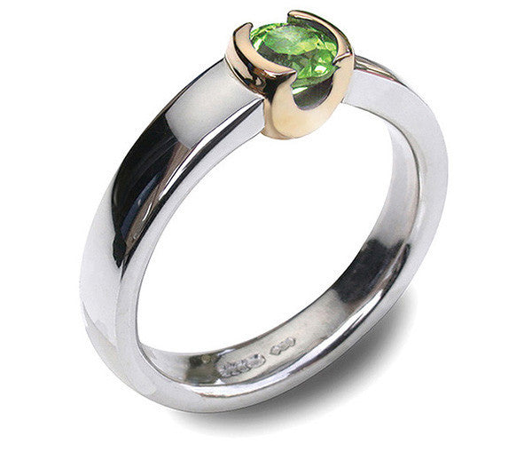 Accent 9ct Golden Cup Ring - Peridot