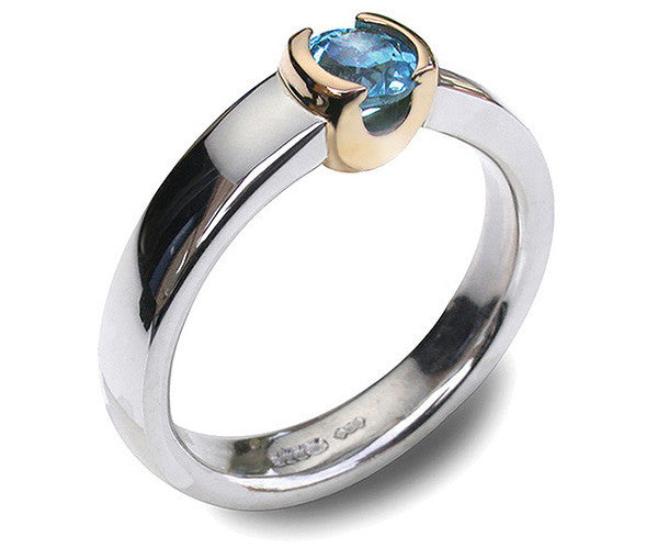Accent 9ct Golden Cup Ring - Blue Topaz