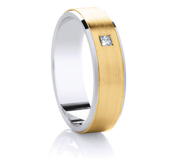 Two-Tone Promise Ring - Satin Yellow Gold & Diamond