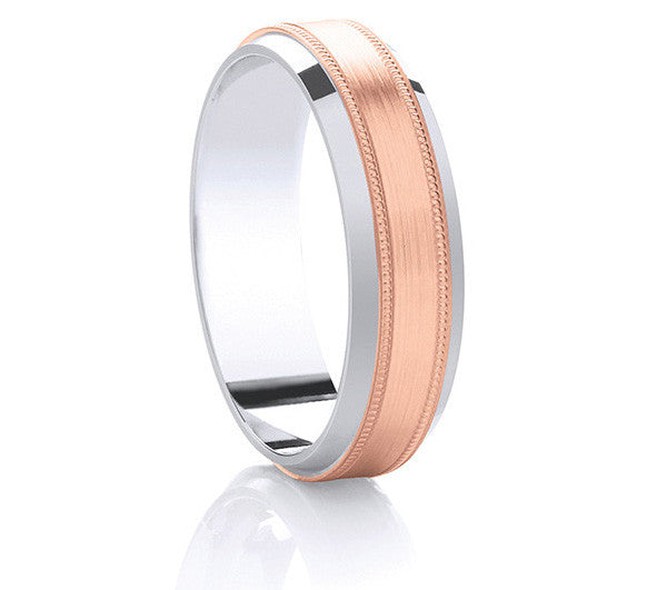 Two-Tone Promise Ring - Rose Gold Millgrain Edge