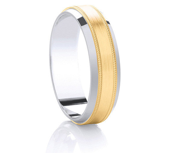 Two-Tone Promise Ring - Yellow Gold Millgrain Edge