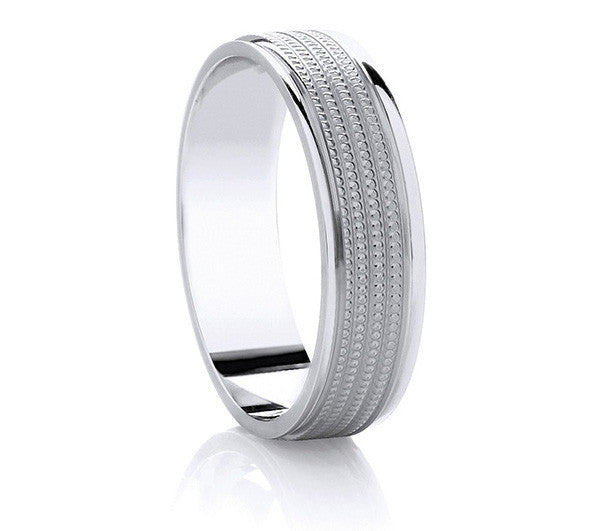 Two-Tone Promise Ring - Palladium Millgrain Detail