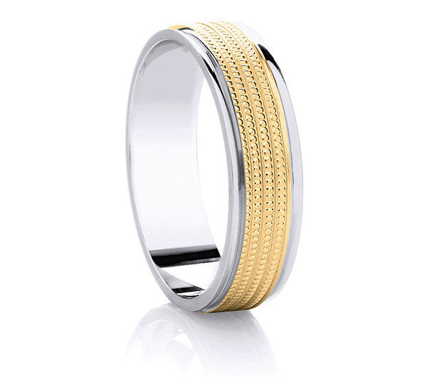 Two-Tone Promise Ring - Yellow Gold Millgrain Detail