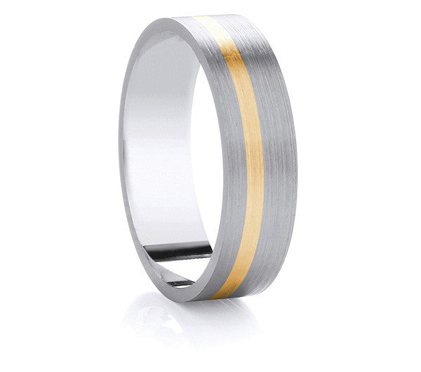 Two-Tone Promise Ring - Satin Yellow Gold Band