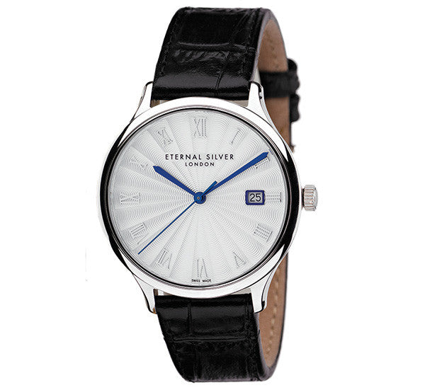 Eternal Silver Men's Watch - 38mm Round White Dial, Black Leather Strap