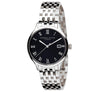Eternal Silver Men's Watch - 38mm Round Black Dial, Argentium Silver Bracelet
