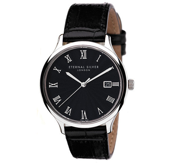 Eternal Silver Men's Watch - 38mm Round Black Dial, Black Leather Strap