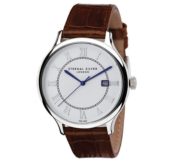 Eternal Silver Men's Watch - 42mm Round White Dial, Brown Leather Strap