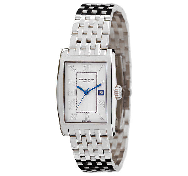 Eternal Silver Men's Watch - 38mm Rectangular White Dial, Argentium Silver Bracelet