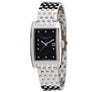 Eternal Silver Men's Watch - 38mm Rectangular Black Dial with Diamonds, Argentium Silver Bracelet