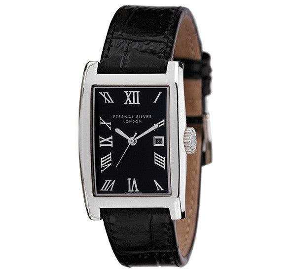 Eternal Silver Men's Watch - 38mm Rectangular Black Dial, Black Leather Strap