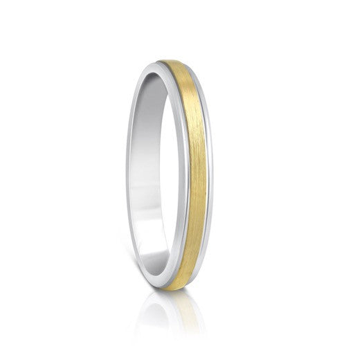 Colours.I.Am Argentium Silver & Yellow Gold Ring 3mm - Eclipse Design