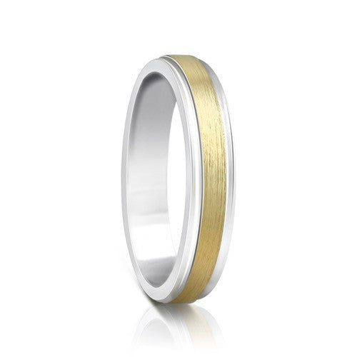 Colours.I.Am Argentium Silver & Yellow Gold Ring 4mm - Eclipse Design