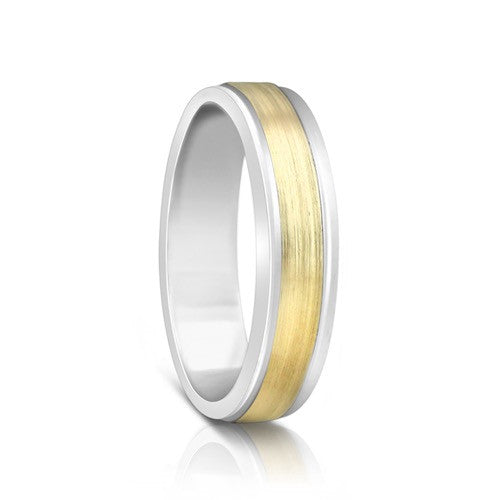 Colours.I.Am Argentium Silver & Yellow Gold Ring 5mm - Eclipse Design
