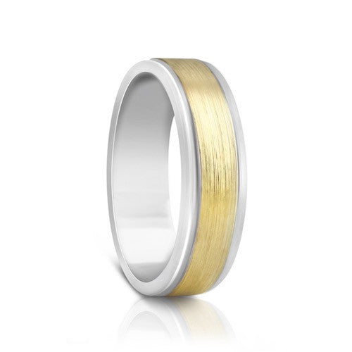 Colours.I.Am Argentium Silver & Yellow Gold Ring 6mm - Eclipse Design