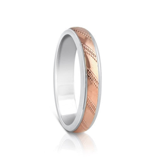 Colours.I.Am Argentium Silver & Red Gold Ring 4mm - Linea Design