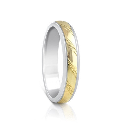 Colours.I.Am Argentium Silver & Yellow Gold Ring 4mm - Linea Design