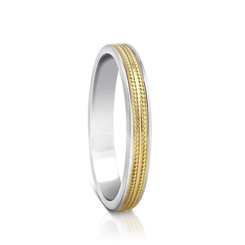 Colours.I.Am Argentium Silver & Yellow Gold Ring 3mm - Millgrain Design