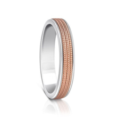 Colours.I.Am Argentium Silver & Red Gold Ring 4mm - Millgrain Design
