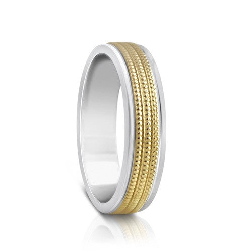 Colours.I.Am Argentium Silver & Yellow Gold Ring 5mm - Millgrain Design