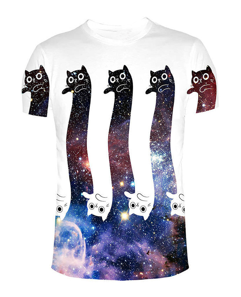 To the Infinity and Beyond Cat Kitty Galaxy Space 3D Print T Shirt