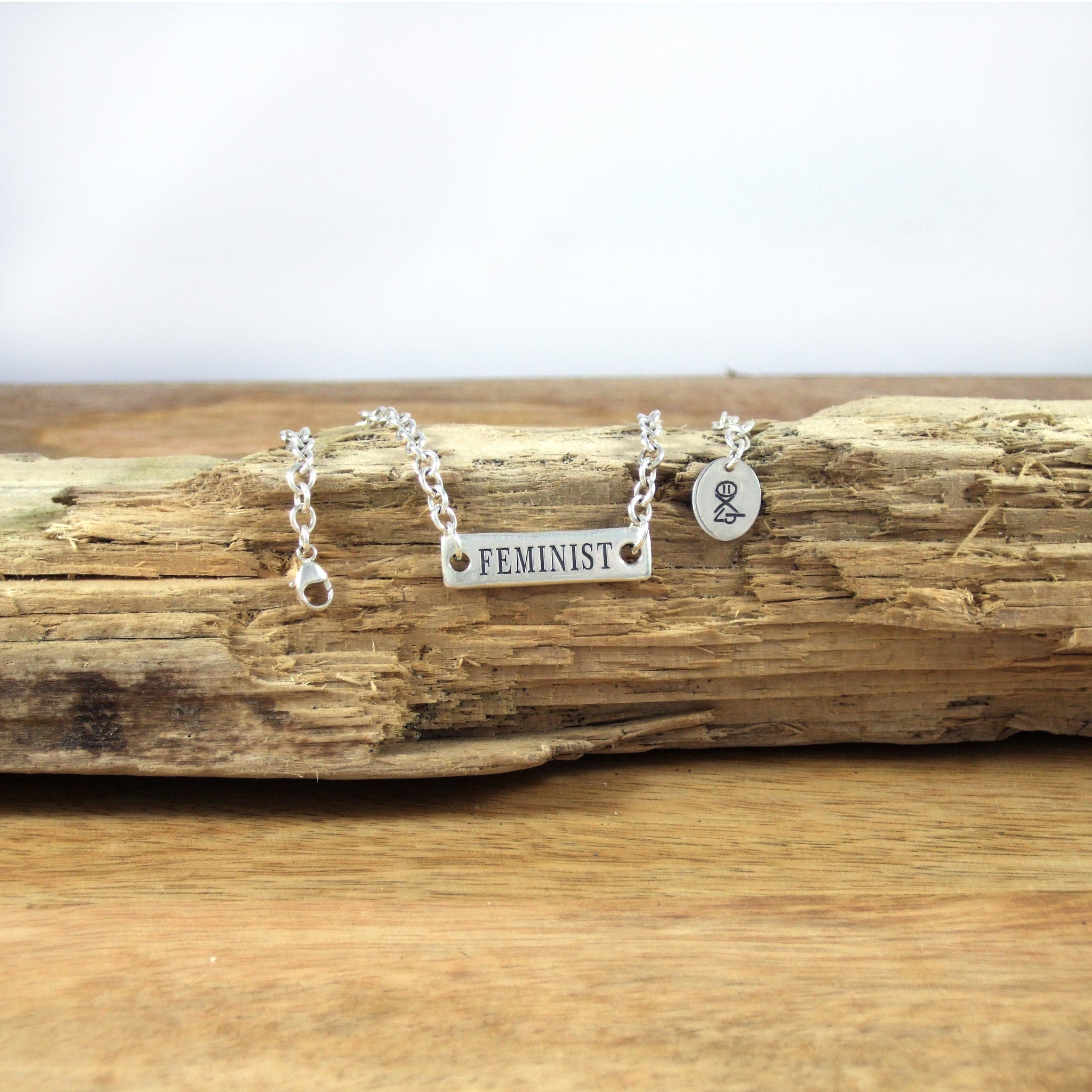 Feminist Flip Over Ankle Bracelet in Recycled Sterling Silver