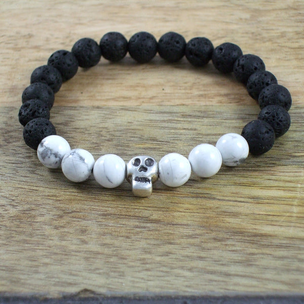 Solid Sterling Silver Skull - Gemstone and Lava Bead Diffuser Bracelet