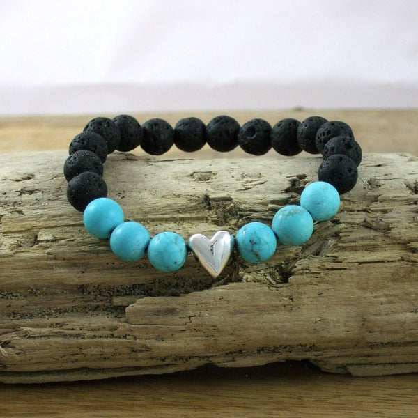 Solid Sterling Silver Heart - Gemstone and Lava Bead Diffuser Bracelet