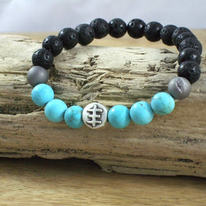 Solid Sterling Silver Psychic Cross #23 - Gemstone and Lava Bead Diffuser Bracelet