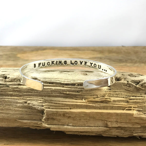 Spell it like it is Collection - I FUCKING LOVE YOU BRACELET - in Recycled Sterling SIlver