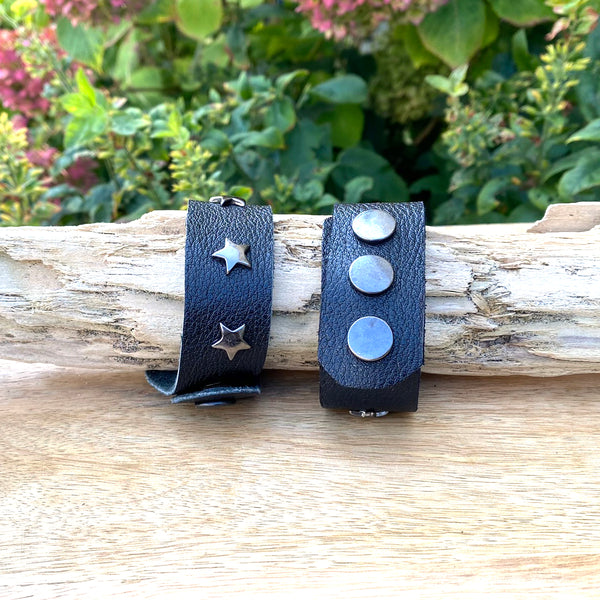 Star Studded Black Leather Cuff Bracelet