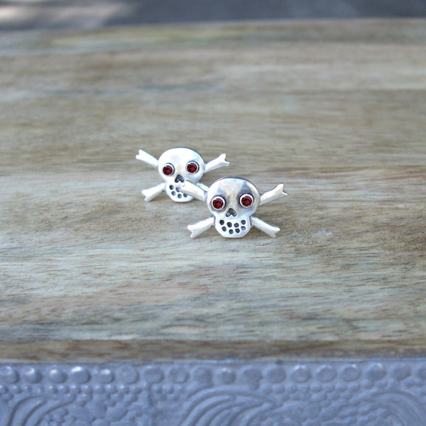 Sterling Silver Skull and Crossbone Cufflinks with Semi-Precious Gemstone Eyes