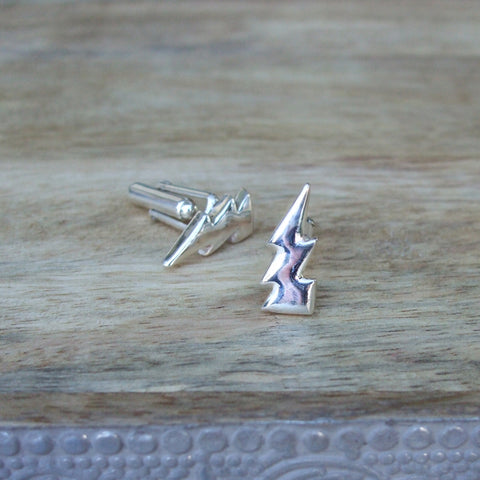 Sterling Silver Lightning Bolt Cufflinks