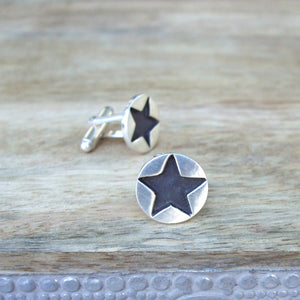 Sterling Silver Black Star Cufflinks