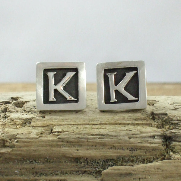 Sterling Silver Custom Letter Cufflinks
