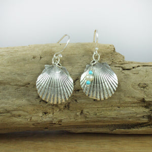 Sterling Silver Scallop Shell Earrings with Turquoise and Pearl