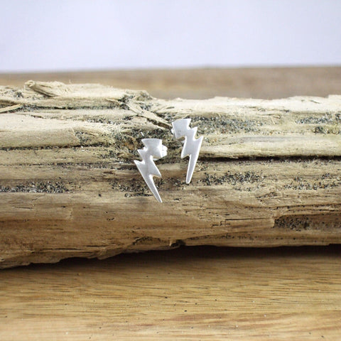 Recycled Sterling Silver Lightning Bolt Post and Nut earrings