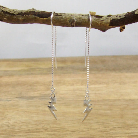 Sterling Silver Tiny Lightning Bolt Threader Earrings