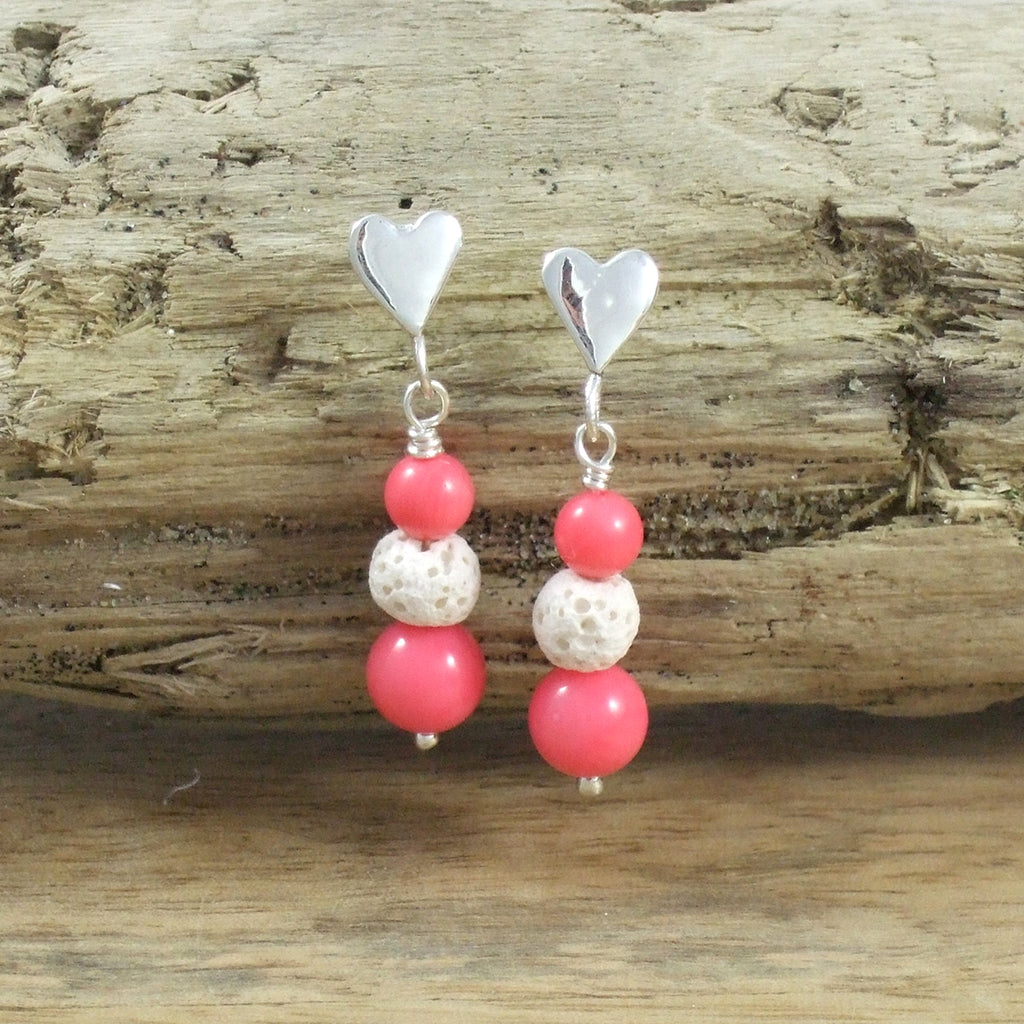 Sterling Silver Heart Lava Bead Diffuser Earrings