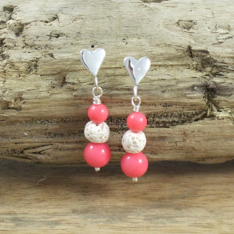 Sweet Sweet Heart Earrings with Genuine Gemstone in Recycled Sterling Silver