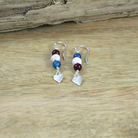 Sterling Silver Heart Diffuser Earrings