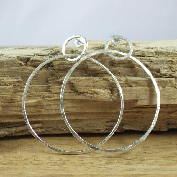 Entwined Large Sterling Silver 2-Circle Hammered Wire Earrings
