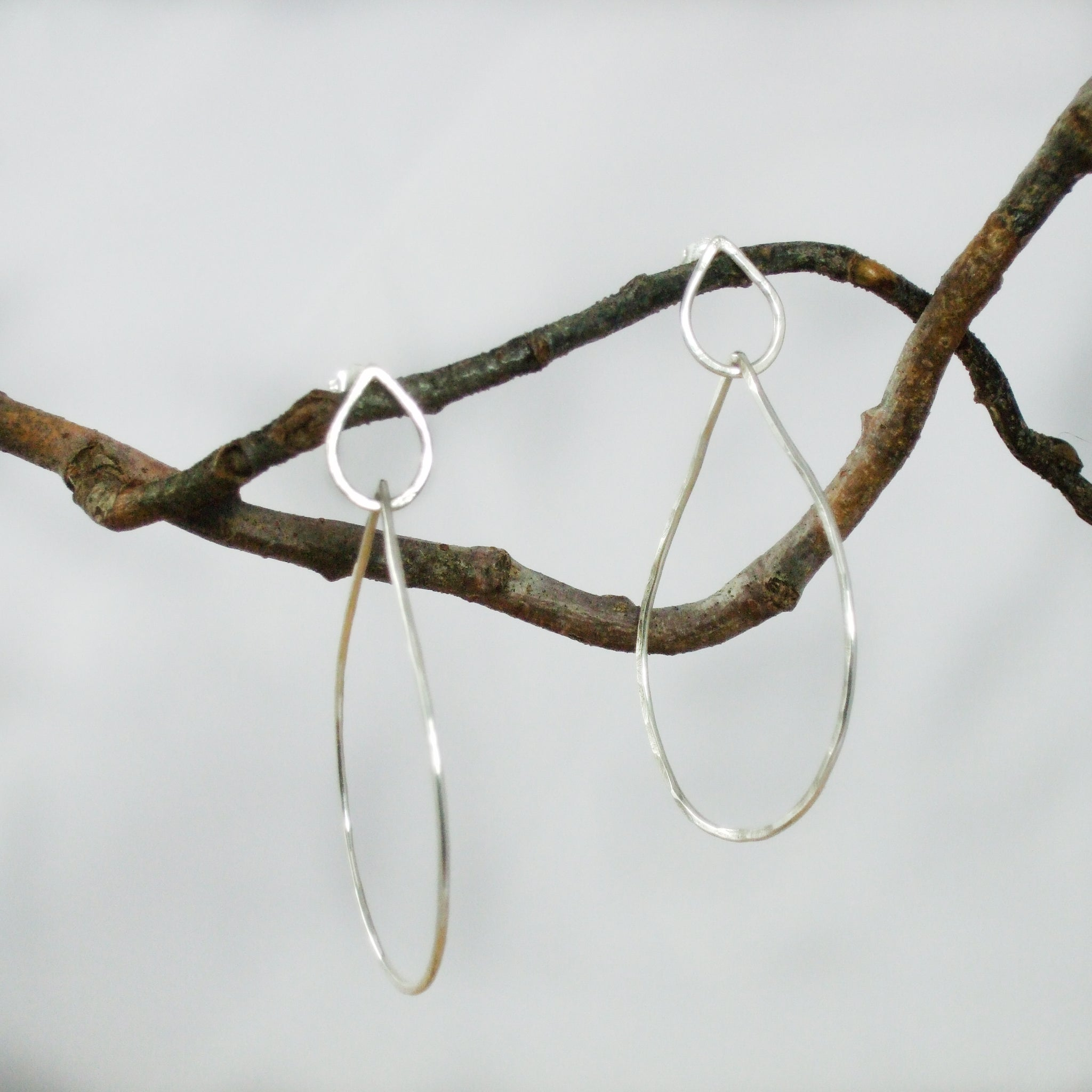 Entwined Large Sterling Silver Double Teardrop Earrings