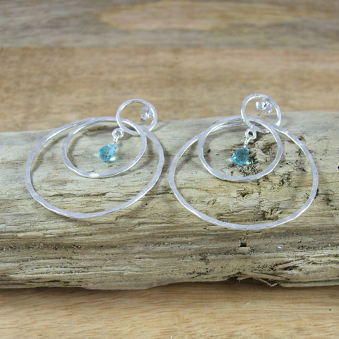 Entwined Large triple Circle Sterling Silver Earrings With Color Briolette Gemstones