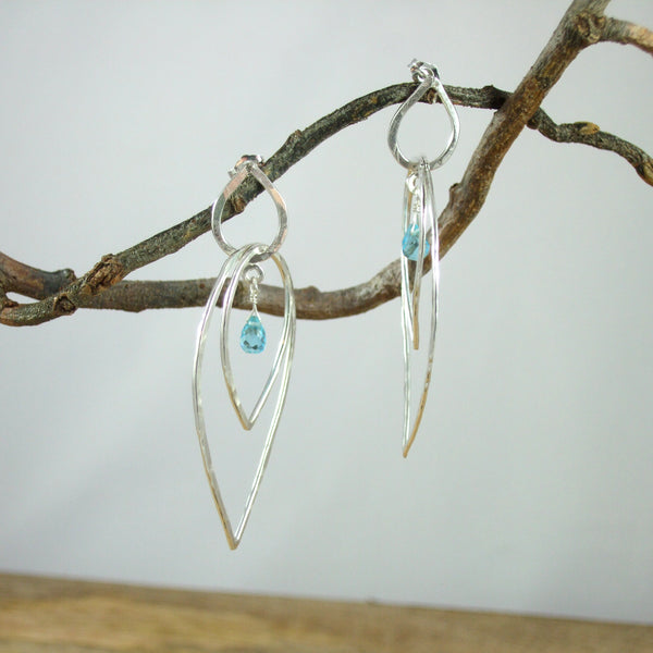 Entwined Large triple Teardrop Sterling Silver Earrings With Color Briolette Gemstones