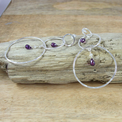 Entwined Long triple Circle Sterling Silver Earrings With Color Briolette Gemstones