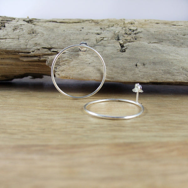 Sterling Silver Large Full Circle Earrings