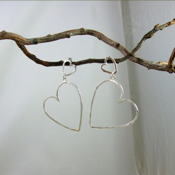 Entwined Large Sterling Silver 2-Heart Hammered Wire Earrings