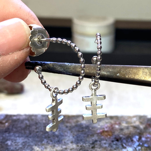 Psychic Cross Hanging Earring In Recycled Sterling Silver